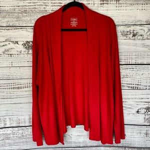 LL BEAN Red Supima Cotton Open Front Cardigan 2x